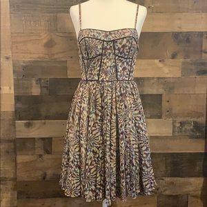 Purple graphic print spaghetti strap dress